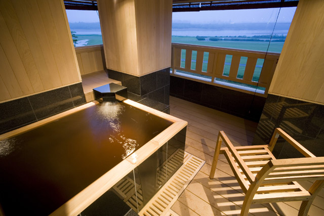 Japanese style room with private outside hot spring